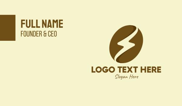 voltaic - Brown Coffee Bean Thunder Business card horizontal design