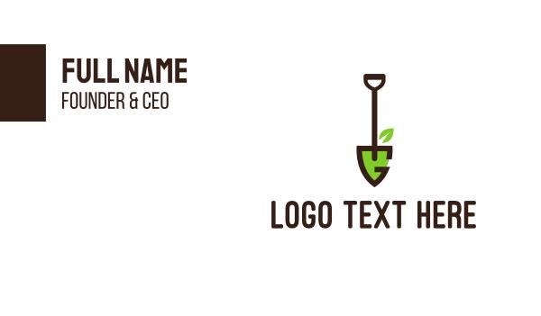 yard care - Shovel Letter G Business card horizontal design