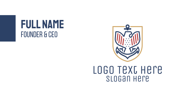 government - American Eagle Anchor Badge Business card horizontal design