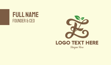 Brown Organic Letter E Business Card
