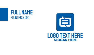 SMS Messaging Communications App Business Card