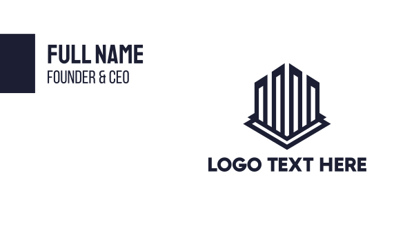 contractor - Geometric Building Outline Business card horizontal design