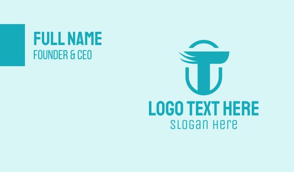 creative agency - Winged Letter T Business card horizontal design