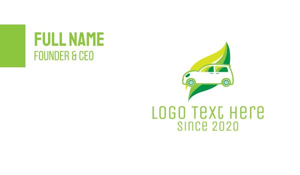 hybrid - Green Eco Automotive Car Business card horizontal design