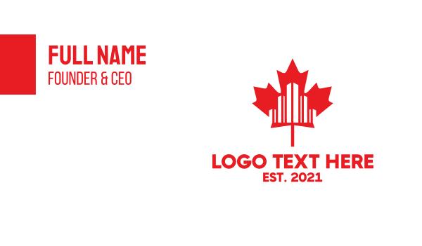 maple leaf - Canadian City Business card horizontal design
