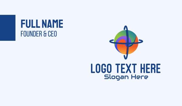 astronomical - Swirl Global Sphere Business card horizontal design