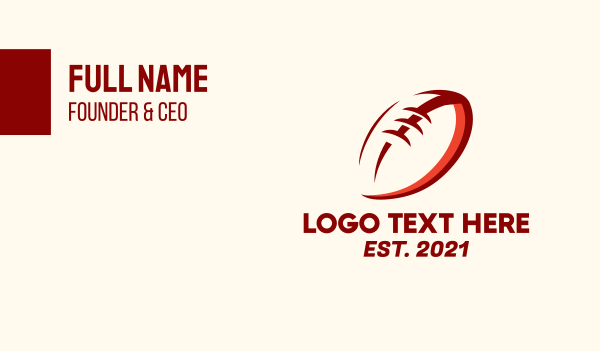 nfl-cards - Red Football Outline Business card horizontal design