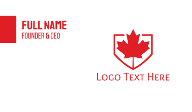 Red Canadian Shield Business Card