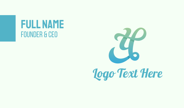 script - Gradient Cursive Letter Y Business card horizontal design
