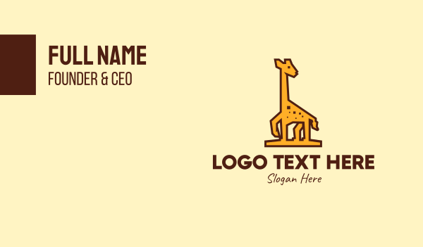 wild creature - Tall Yellow Giraffe Business card horizontal design