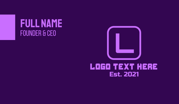 app developer - Purple Gaming Lettermark Business card horizontal design