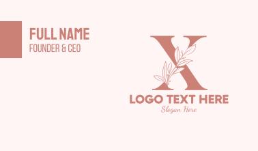 Elegant Leaves Letter X Business Card