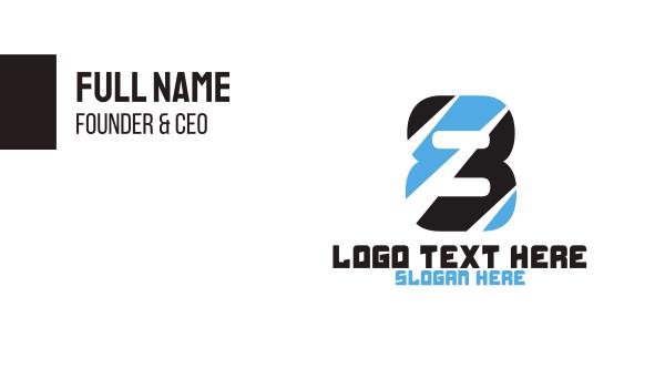 eight - Black & Blue Number 8  Business card horizontal design
