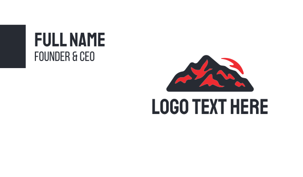 red fire - Red Volcano Business card horizontal design