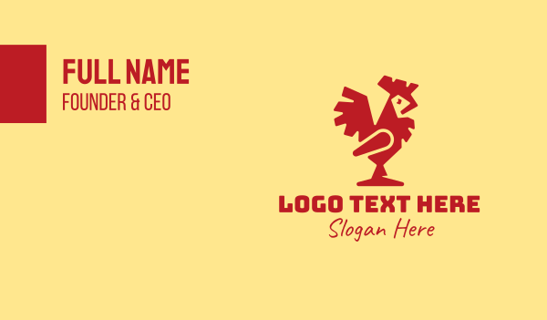 wild animal - Modern Red Rooster Business card horizontal design