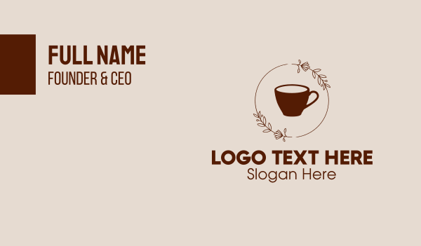 brown - Coffee Cup Flowers Business card horizontal design