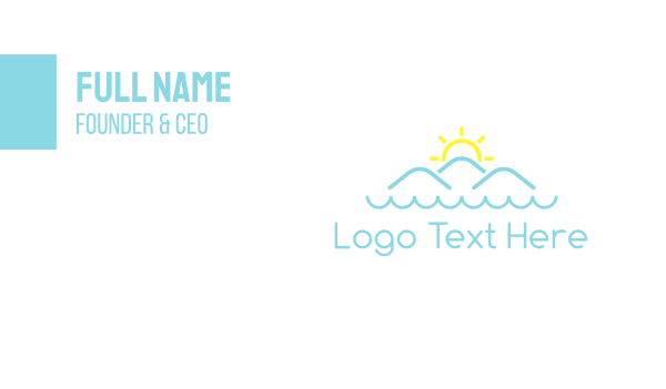 fjord - Ocean Sun Mountains Business card horizontal design