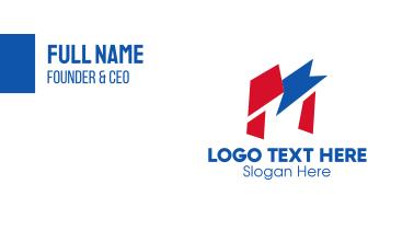 Geometric Flag Letter M  Business Card