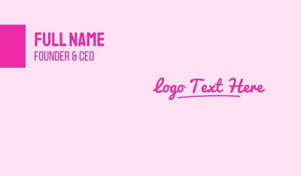 autograph - Pink Script Wordmark Business card horizontal design