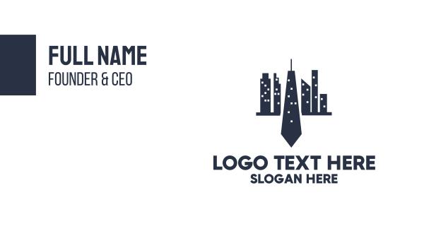 blue city - Blue Tie City Business card horizontal design