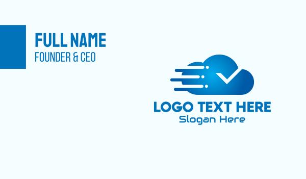 check mark - Blue Gradient Cloud Tech Business card horizontal design