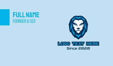 Blue Lion Head Mascot Business Card