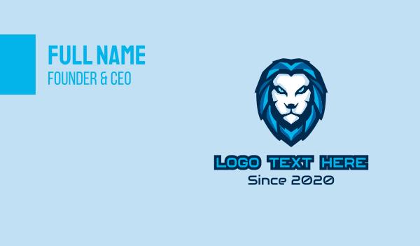 playoffs - Blue Lion Head Mascot Business card horizontal design