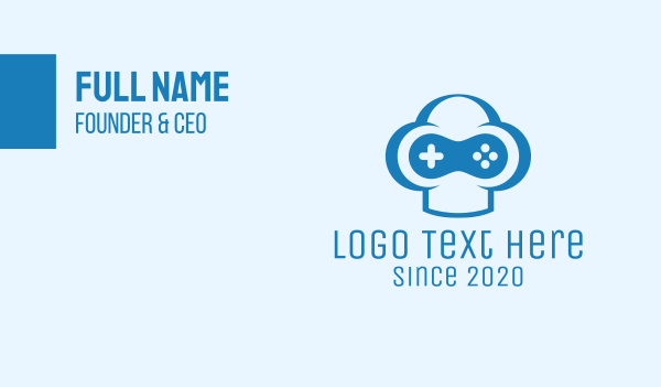 video game console - Blue Gamer Business card horizontal design