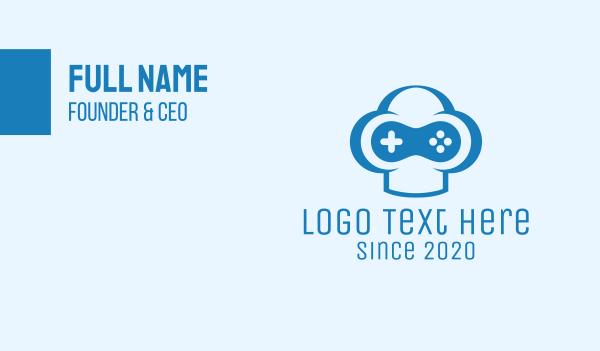 game store - Blue Gamer Business card horizontal design