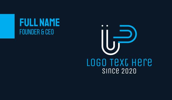 up - Digital Line U & P Business card horizontal design