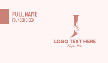 Elegant Leaves Letter J Business Card