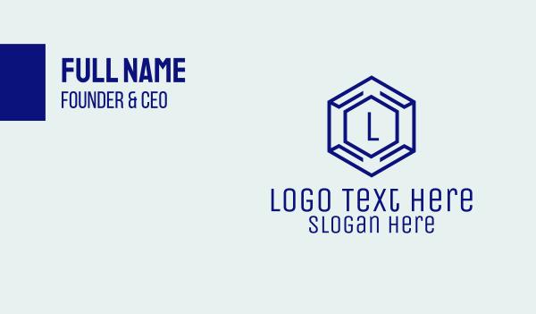 outsource - Hexagon Tech Lettermark  Business card horizontal design