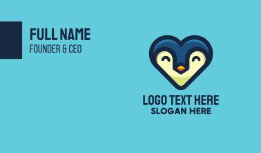 Happy Heart Penguin Business Card