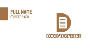 Gold D Document Business Card