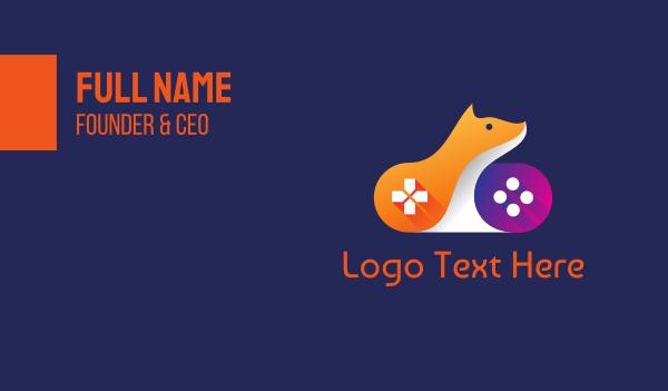 gaming community - Orange Fox Controller Business card horizontal design