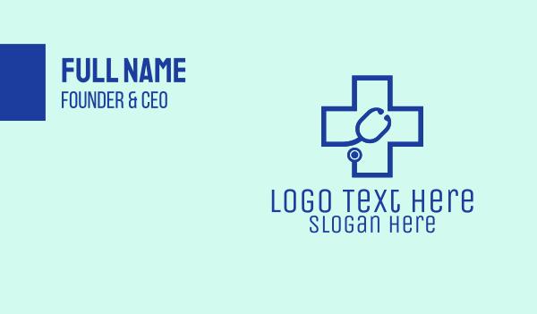 doctor - Blue Cross Stethoscope Business card horizontal design