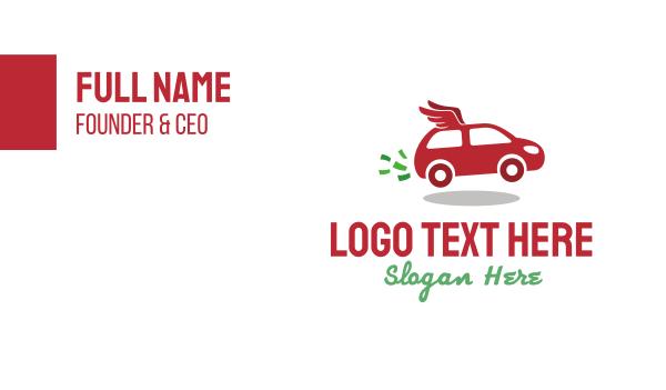 van - Red Flying Car Wings Business card horizontal design
