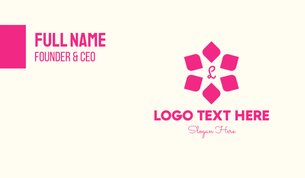 floral design - Pink Star Flower Lettermark Business card horizontal design