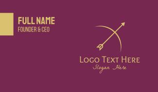Gold Bow Arrow  Business Card