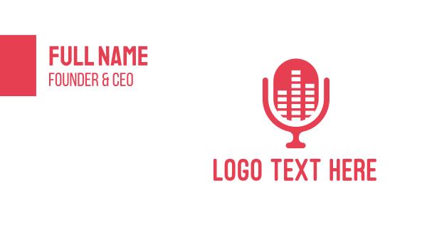 stream - Pink Podcast Equalizer Mic Business card horizontal design