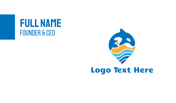 tracker - Blue Whale Pin Business card horizontal design