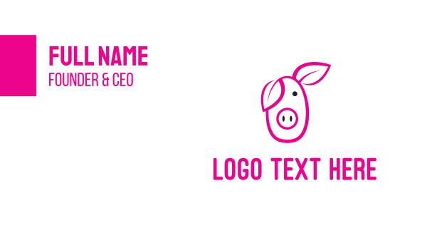 butcher - Pig Cartoon Outline  Business card horizontal design