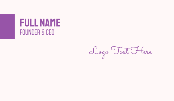 purple girl - Handwritten & Feminine Business card horizontal design