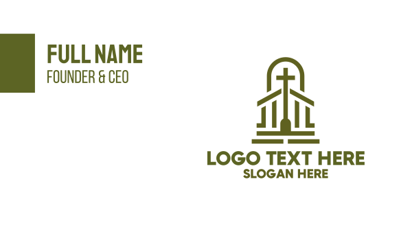 cathedral - Christian Chapel Cross Business card horizontal design