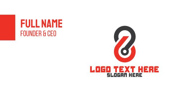 eight - Modern Outline Number 8 Business card horizontal design