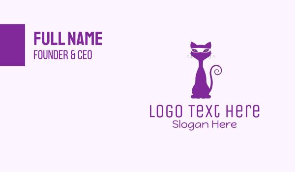 black cat - Purple Cat Bandit  Business card horizontal design