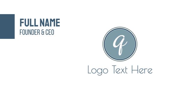 blue circle - Cursive Q Circle Business card horizontal design