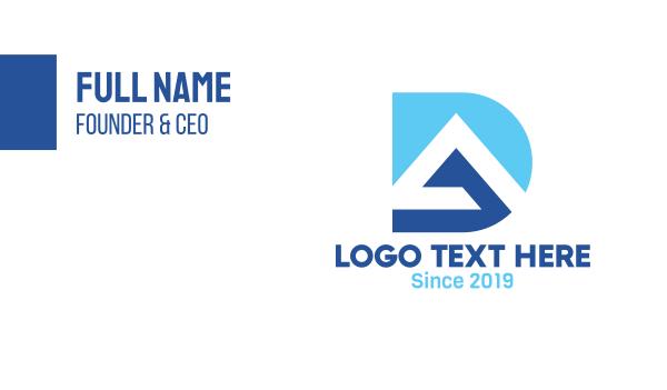 enterprise - Blue DA Monogram Business card horizontal design
