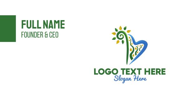 plain - Nature Harp Letter B Business card horizontal design