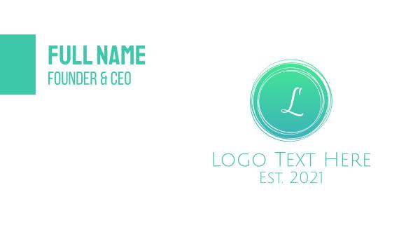 rounded - Green Stroke Lettermark Business card horizontal design